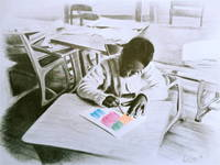 Young Black Girl Drawing