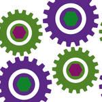 """Retro Cogs Purple & Green"" by ImageMonkey"
