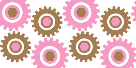 Retro Cogs Pink & Brown
