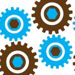 """Retro Cogs Brown & Blue"" by ImageMonkey"