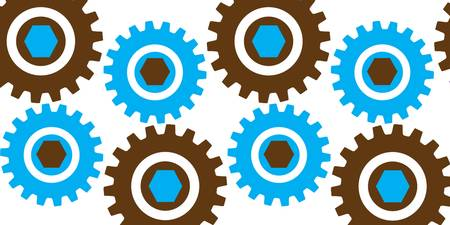 Retro Cogs Brown & Blue