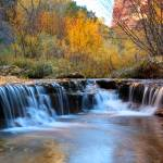 """Autumn waterfall in Zion"" by pierreleclerc"