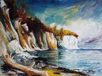 Chalk Cliffs On The Island Ruegen In Fall