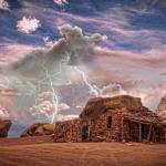 """Rock House Lightning Strike Colorado HDR"" by lightningman"