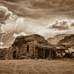 """Southwest Indian Rock House and Lightning Striking"" by lightningman"