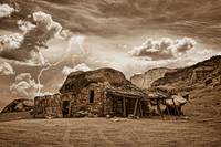 Southwest Indian Rock House and Lightning Striking