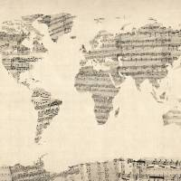 """Map of the World Map from Old Sheet Music"" by ModernArtPrints"