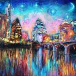 """Impressionistic Austin Night Cityscape"" by SvetlanaNovikova"