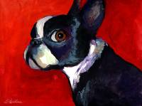 Colorful Boston terrier painting