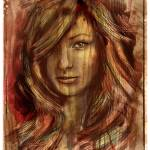 """Olivia Wilde Portrait on Wood Texture Print"" by barrettbiggers"