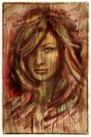 Olivia Wilde Portrait on Wood Texture Print