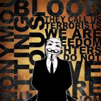 Anonymous revolution without blood ? Gold Art Prints & Posters by Shobrick Shobrick