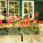 """""Window box with red geraniums"""" by artbyjpennington"