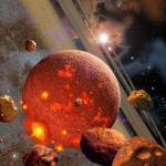 """""""Primordial Earth and asteroid-like bodies."""" by stocktrekimages"""