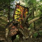 """A Pentaceratops wanders a Cretaceous forest."" by stocktrekimages"