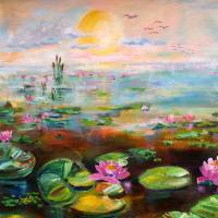 Misty Sunrise in the Wetlands Lily Pads by Ginette Art Prints & Posters by Ginette Callaway