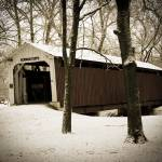 """Old covered bridge in winter"" by MyTreasuredImages"