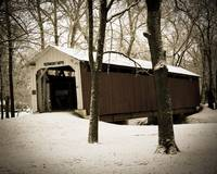 Old covered bridge in winter