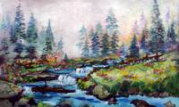A Creek Runs Through It Landscape Painting by Gine