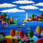 """Colorful Shoreline with Lighthouse"" by reniebritenbucher"