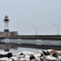 Lighthouse in The Snow by Lisa Rich