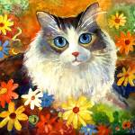 """Cute Tubby cat in flowers painting"" by SvetlanaNovikova"