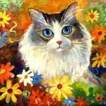 """Cute Tubby cat in flowers painting"" by SvetlanaNovikova"