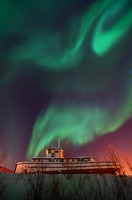 steamboat under northern lights