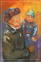 Kyrgyz man with a child