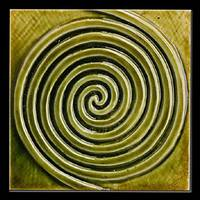 Green Spiral Ceramic Tile