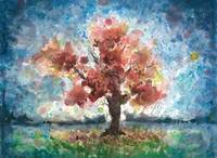 Portrait of a Tree, expressive watercolor painting