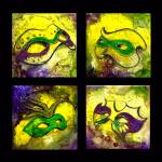 """4 Mardi Gras Mask (Black Background) by GG Burns"" by ggsfunctionalart"