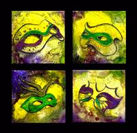 4 Mardi Gras Mask (Black Background) by GG Burns