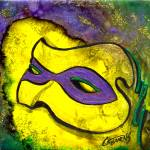 """Mardi Gras Mask, (yellow) by GG Burns"" by ggsfunctionalart"