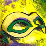 """Mask Gras Mask, (green) by GG Burns"" by ggsfunctionalart"