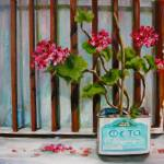 """Feta Tin with Geraniums"" by yvonneayoub"