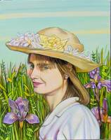 Woman in Hat with Irises