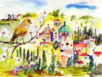 Spring in Assisi Italy Umbria Watercolor Ginette