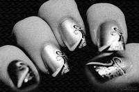 Fashioned Finger Nails in Black and White Abatract