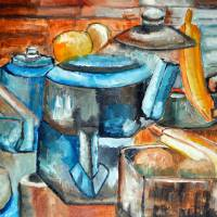 Teapot and Fruit by Lisa Rich