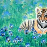 """Tiger Cub with Pansies Painting"" by BlueSkies"