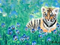 Tiger Cub with Pansies Painting