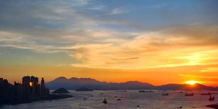 HK Harbor at Sunset