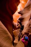 child photographing lower antelope canyon