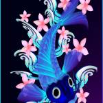 """Blue Koi-Pink Flowers"" by Lotacats"