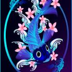 """Blue Koi-Pink Flowers Oval"" by Lotacats"