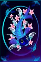 Blue Koi-Pink Flowers Oval