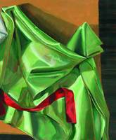 Green Fabric with Red Ribbon