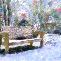 Park Bench in Winter I Art Prints & Posters by Kurt Longnecker