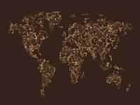 Map of the World Map Floral Swirls